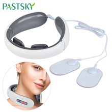 Electric Pulse Neck Massager Cervical Vertebra Physiotherapy Pain Relief Rechargeable Stimulator Massager With 2 Electrode Pads xft 320a electrical stimulator tens healthcare physiotherapy pains relax smoothing electrical massager physiotherapy knee pads