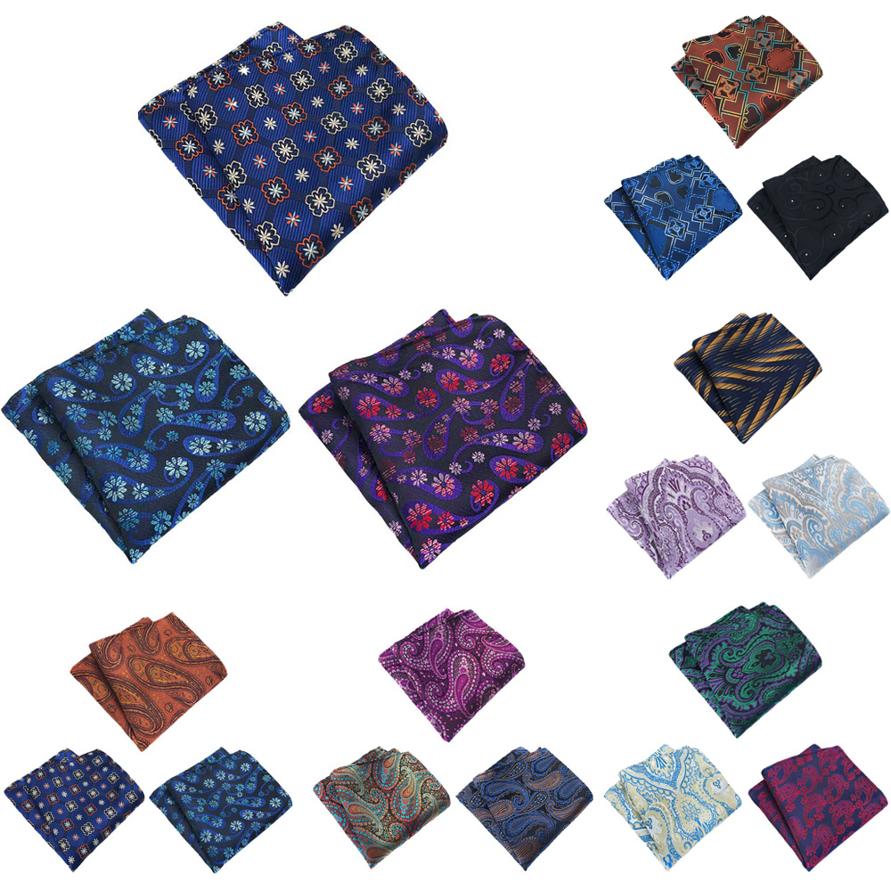 3 Packs Men Classic Flower Paisley Pocket Square Wedding Party Handkerchief BWTHZ0370