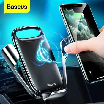 Cargador de coche inalámbrico Baseus 15W Qi para iPhone 11, soporte de carga inalámbrico rápido para coche para Samsung S20 Xiaomi Mi 9, cargador de inducción
