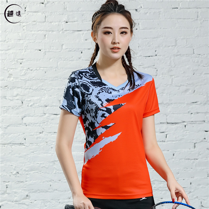 V-образная горловина, короткий рукав, форма для настольного тенниса, один топ для мужчин и женщин, летняя одежда для учеников средней школы, студентов средней школы - Цвет: B2619emale