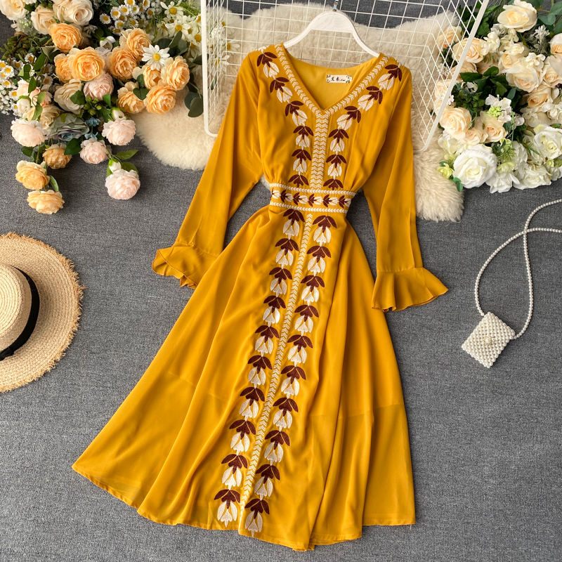 Boho 2020 v neck Slim embroidery dress Summer midi long chiffon party dress Women casual a-line beach holiday elegant dresses