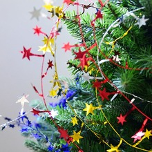 Christmas Tree Hanging Star Pine Garland Decoration Ornament New Year Decor 5m String Party Supplies