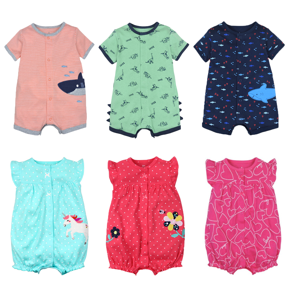 2020 NEW Stlye Summer Baby Boys Rompers Kids Short Sleeve Clothing Baby Girls Cotton Jumpsuit Newborn Rompers 0-24M Baby Clothes