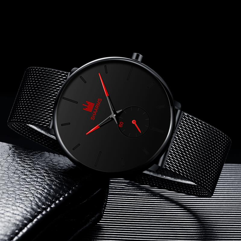 SHAARMS Sport Watch Men Watches Mesh Band Business Clock  Men Fashion Quartz Wristwatch Relogio Masculino Reloj Hombre 2019