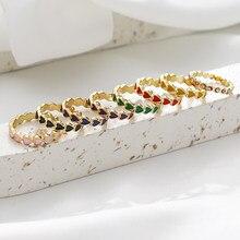 Coração de esmalte colorido verão cercado adorável empilhamento anéis para mulheres minimalista anéis de ouro para melhor amigo bonito anel de coração