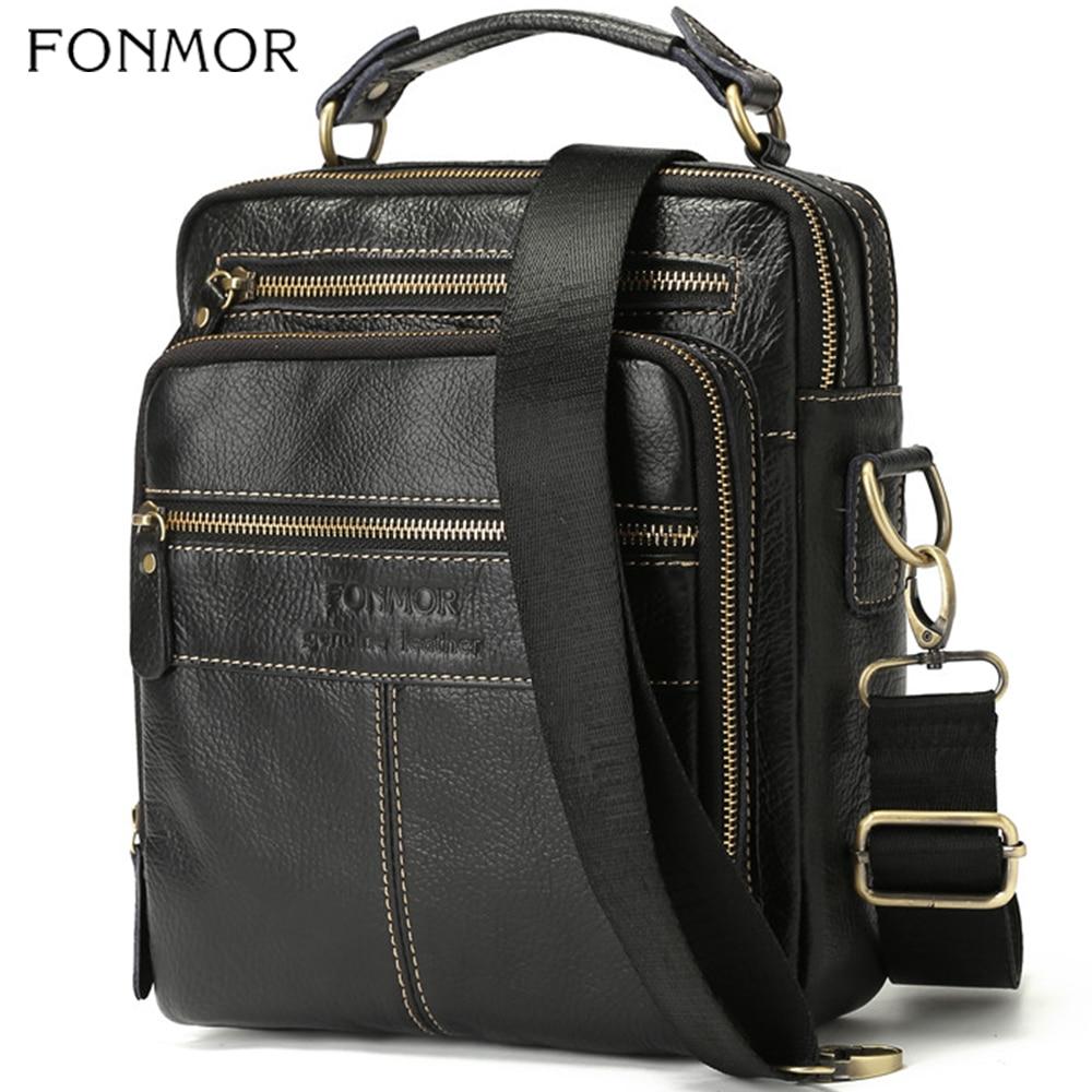 Fonmor Men Messenger Bag Genuine Cow Leather Crossbody Shoulder Bags For Male Black Multifunctional Tote Handbag New Fashion HOT