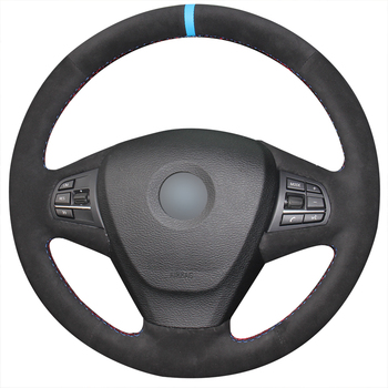 Hand-stitched Black Suede Anti-slip Comfortable Car Steering Wheel Cover for BMW X3 F25 2010-2017 X5 F15 2013