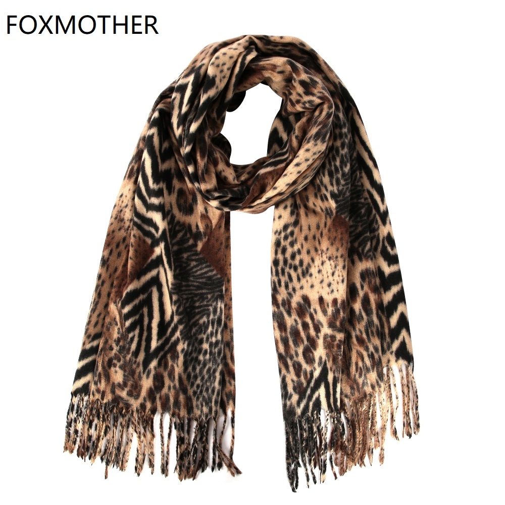 FOXMOTHER Winter Leopard Zebra Animal Print Scarfs Hijab Wrap Warm Tassel Scarves Cashmere Foulard Femme 2019 Pashmina Shawl