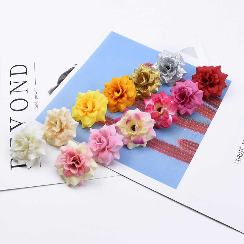20 Pieces artificial flowers rose head home decoration accessories candy box christmas vases decorations for home gifts wedding