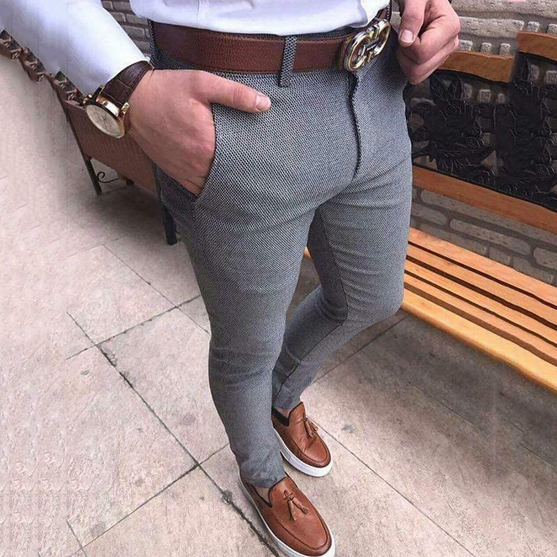 Hot Fashion Men's Slim Fit Business Formal Pants Cotton Mid Rise Bottoms Plus Size Casual Office Skinny Straight Solid Trousers 3