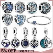 2020 Winter New 925 Sterling Silver Beads Blue Planet Dangle Charm fit Original Pandora Bracelet Christmas Jewelry