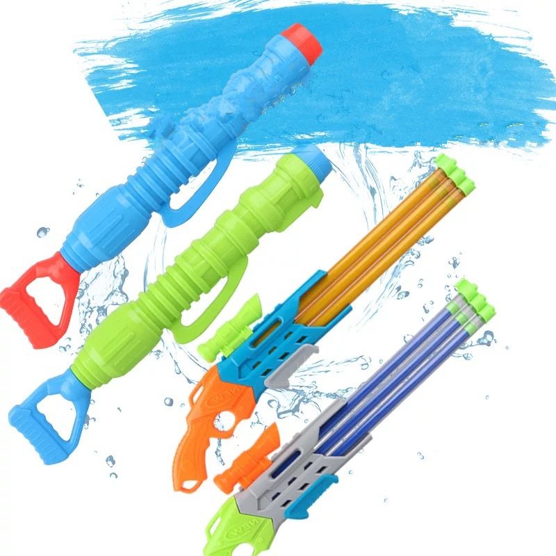 1Pcs Summer Pull-out Water Gun 5 Water Outlets Water Cannon Gun Adult Children Playing Water Toys Kids Beach Drifting Water Toys