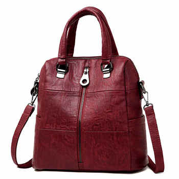3-in-1 Women Leather Backpacks Vintage Female Shoulder Bag Sac a Dos Travel Ladies Bagpack Mochilas School Bags For Girls Preppy - DISCOUNT ITEM  45% OFF All Category