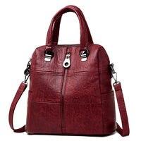 3 in 1 Women Leather Backpacks Vintage Female Shoulder Bag Sac a Dos Travel Ladies Bagpack Mochilas School Bags For Girls Preppy