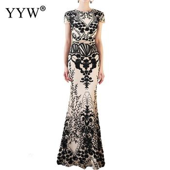 Fashion Floral Embroidery Women Evening Dresses Short Sleeve Elegant Long Party Gowns Sexy Robe Femme Special Occasion Wear 2019
