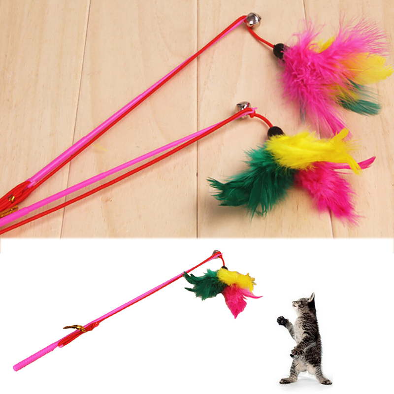 Wool Steel Silky Cat Stick Toys Cat Interactive Play With Feathers Small Items Funny Pet Toy Househoud Little Pets Supplies