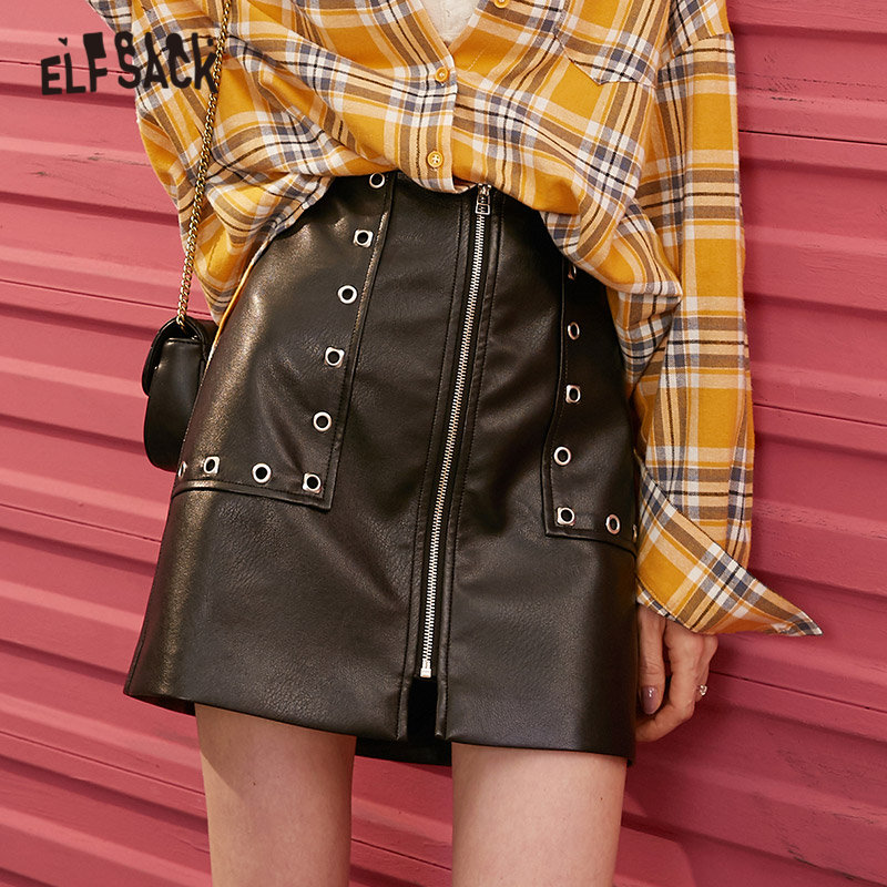 ELFSACK Black Solid A Line High Waist Korean Sexy Skirt Women 2020 Spring Leather Rivet Zipper Punk Ladies Daily Mini Skirts