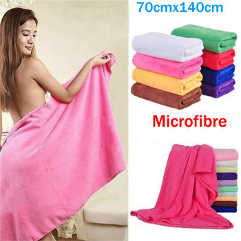 Czysty kolor naturalny ręcznik z mikrofibry 70x140cm chłonne włókno rodzinne ręczniki kąpielowe plażowe tanie i dobre opinie hirigin Gładkie barwione Bardzo chłonne Poliester bawełna