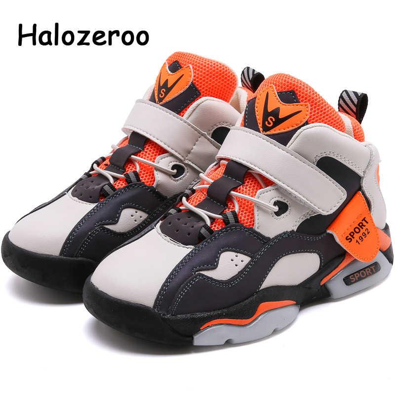 ฤดูใบไม้ร่วงใหม่เด็กสูงกีฬารองเท้าผ้าใบเด็กตาข่ายรองเท้าเด็กสบายๆรองเท้าผ้าใบเด็กชายสีดำ Chunky รองเท้าผ้าใบ Trainers