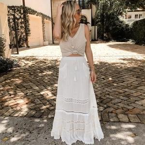 Image 3 - TEELYNN 맥시 코튼 드레스 2 조각 세트 화이트 매달려 록 레이스 드레스 민소매 브랜드 여성 드레스 비치웨어 집시 Vestidos