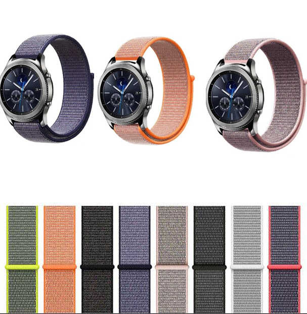20 22mm Nylon strap for Samsung Galaxy 42 46 active 2 Gear S3 S2 amazfit 1 2s 3 GTR GTS bip Ticwatch S S2 pro E pebble time band