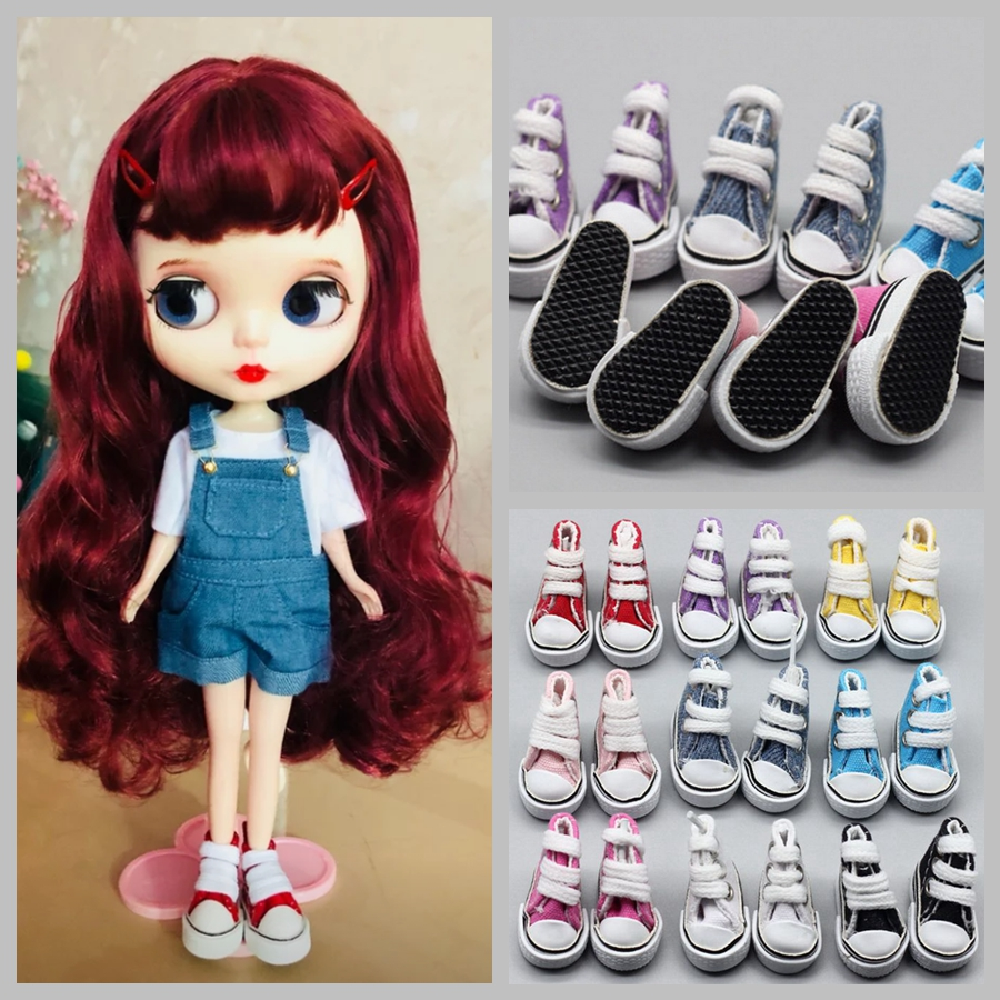 3.5 cm Doll Mini Shoes Canvas Fabric Blyth Shoes for 1/6 BJD, Azone, Pullip Joint Body Doll Sneakers Shoes Doll Accessories image