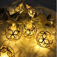 Wrought Iron Cutout  Round Ball LED String Christmas Wedding Bouquet Gift Box Decoration Lights