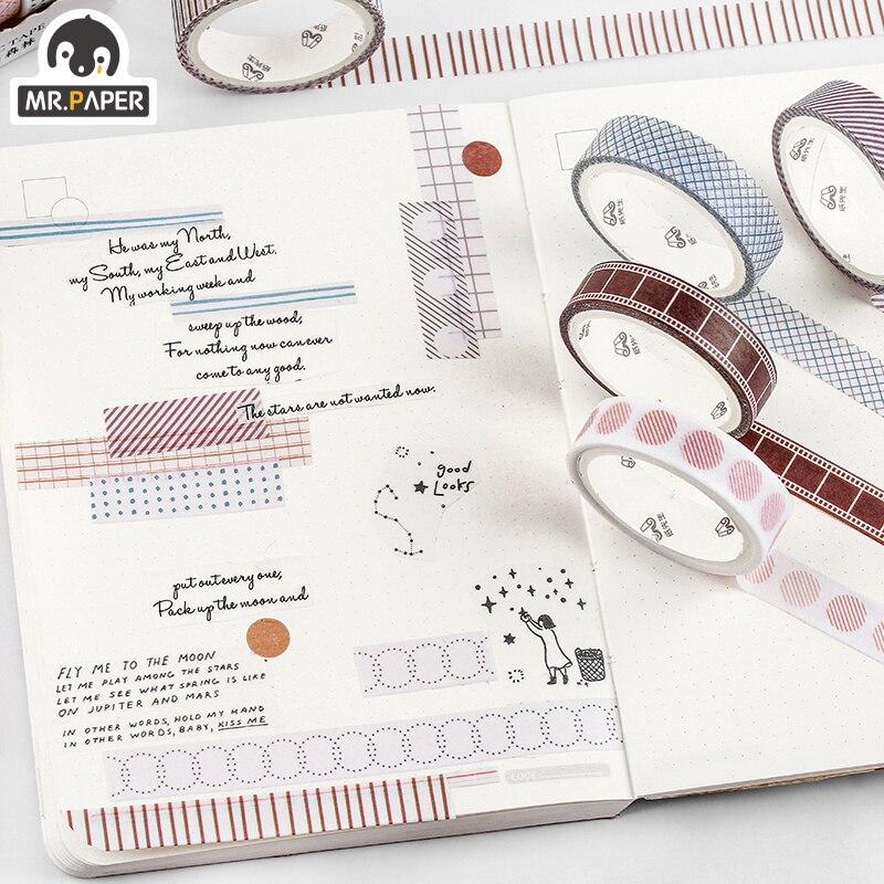 Mr.Paper 5pcs/box 8 Design Salt Forest Series Spots Color Scrapbook Cut-off Rule Washi Tape Bullet Journaling Deco Masking Tapes 5
