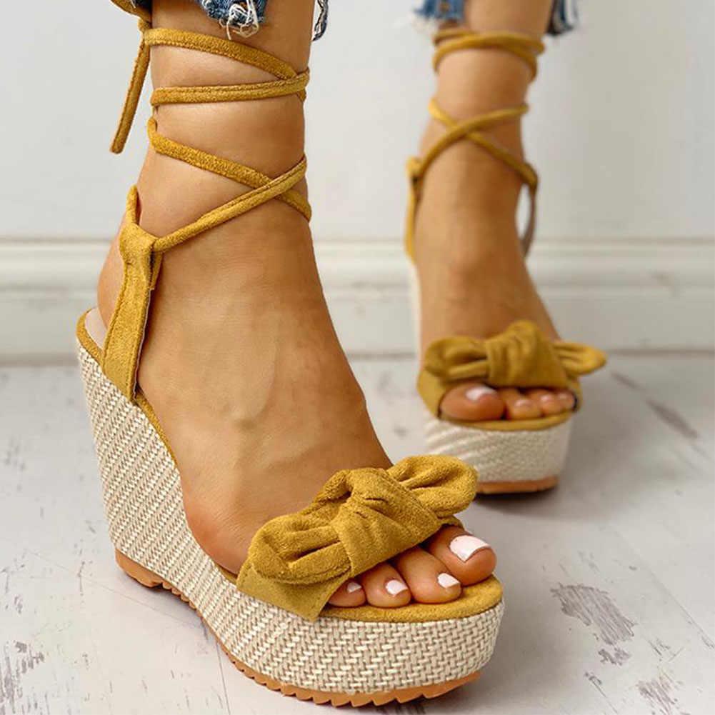 Karinluna ใหม่ขายส่ง Wedges รองเท้ารองเท้าส้นสูง Casual แฟชั่นหวานฤดูร้อนข้อเท้ารองเท้าผู้หญิงรองเท้าแตะ