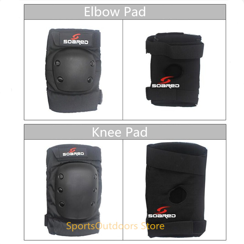Professional High Quality Thicken 2pcs Ski Snowboard Roller Skating Thicken Knee Guard Elbow Protector Brace Pad Black S M L