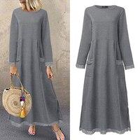Fashion Women's Autumn Sundress ZANZEA 2020 Lace Patchwork Sweatshirts Dress Female Hoodies Plus Size Maxi Vestidos Pullover 5XL 1
