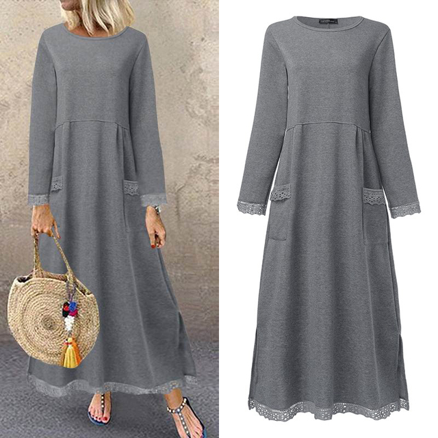 Fashion Women's Autumn Sundress ZANZEA 2020 Lace Patchwork Sweatshirts Dress Female Hoodies Plus Size Maxi Vestidos Pullover 5XL 1