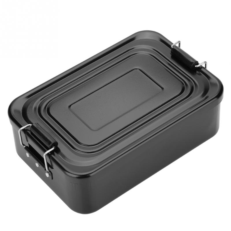 Portable Aluminum Lunch Box Food Fruit Storage Container With Double-Ear Buckles Tableware For Outdoor Camping Picnic image