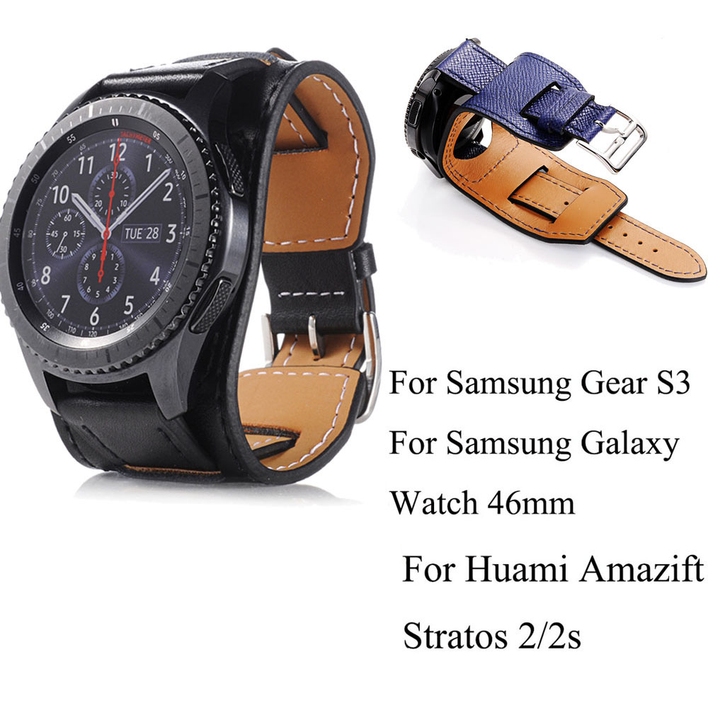 Genuine Leather Watch Band Strap 22mm For Samsung Galaxy Watch 46mm Watchstrap For Samsung Gear S3 Bracelet Belt Sport Watchband