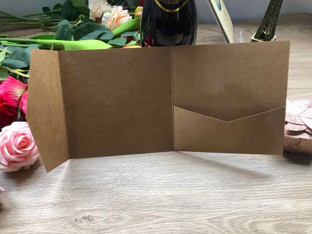 Gratis Verzending 1 Pcs Kraft Laser Cut Tri-Fold Pocket Uitnodigingskaarten Kit Envelop Gepersonaliseerde Pocket Nodigen Rsvp