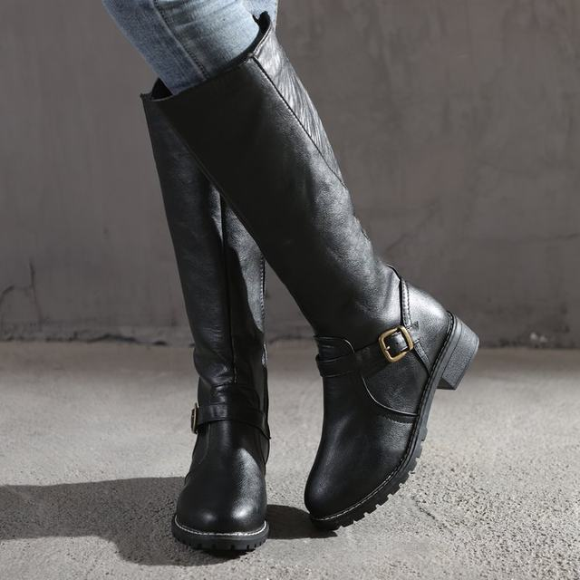 2019 Knees Square Heel Boots Women PU Leather Suede Matte Boots Slip on Zapatos De Mujer Solid Riding Knight Boots Winter Shoes 24