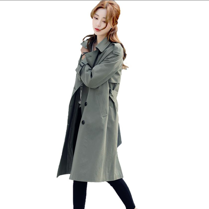 Trench   Coat for Women 2019 Spring autumn New Fashion Double Breasted Women Long Coat Khaki Slim Belt Windbreaker Female   Trench