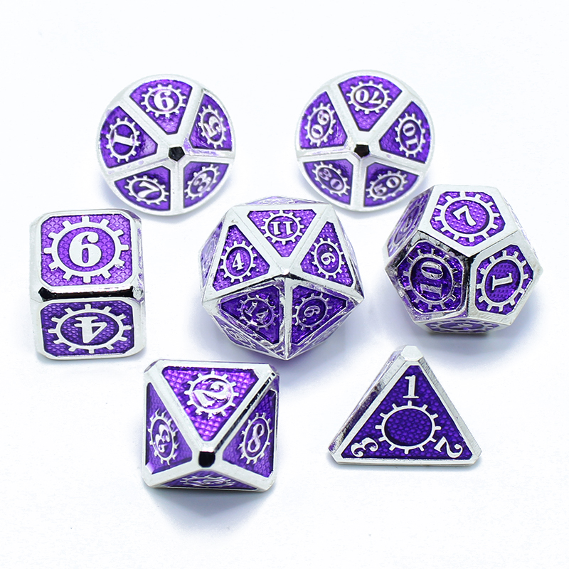 Rpg Dice Polyhedral Sets Metal Dnd Dungeons And Dragons Table Games Zinc Alloy Light Pink Dices Digital Pattern D20 10 8 12
