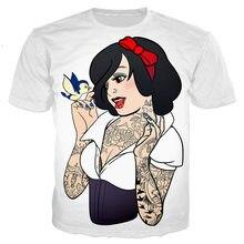 Verão alice princesa jasmine punk roupas masculinas streetwear unisex camiseta 3d impressão novidade moda tshirt hip hop casual topo
