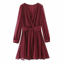 Toppies Woman Dot Chiffon Dress Sexy V-Neck Long Sleeve Mini Dress Voile Party Clothes 2020