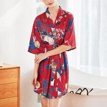 Women Silk Sleepwear Spring Autumn Floral Print Half Sleeve Sexy V Neck Loose Home Robe Kimono Thin Lace-up Comfy Bathrobe все цены
