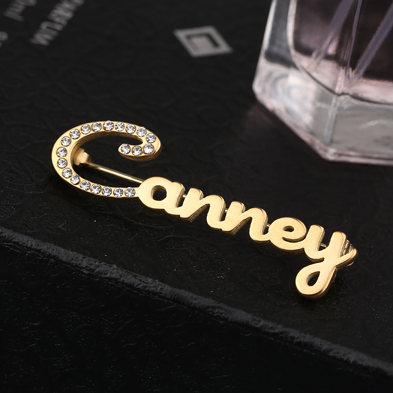 Hand-Painted Brooch Pin Custom Logo Brooch Stainless Steel Jewelry Female Golden Personality Name Brooch With Diamonds To Custom