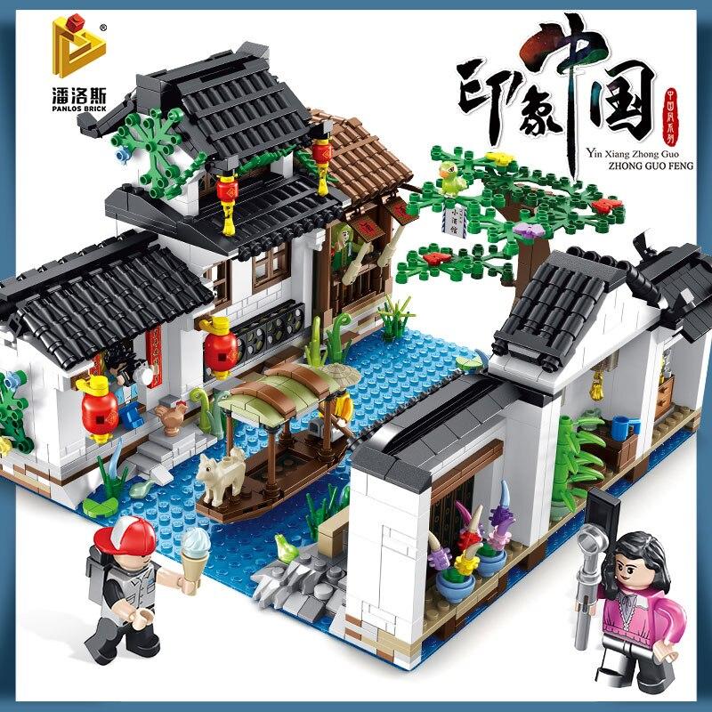 Новое впечатление китайский стиль серии Новогодний ужин цзяньнань водный город бистро строительный модуль подарок на год игрушки для детей