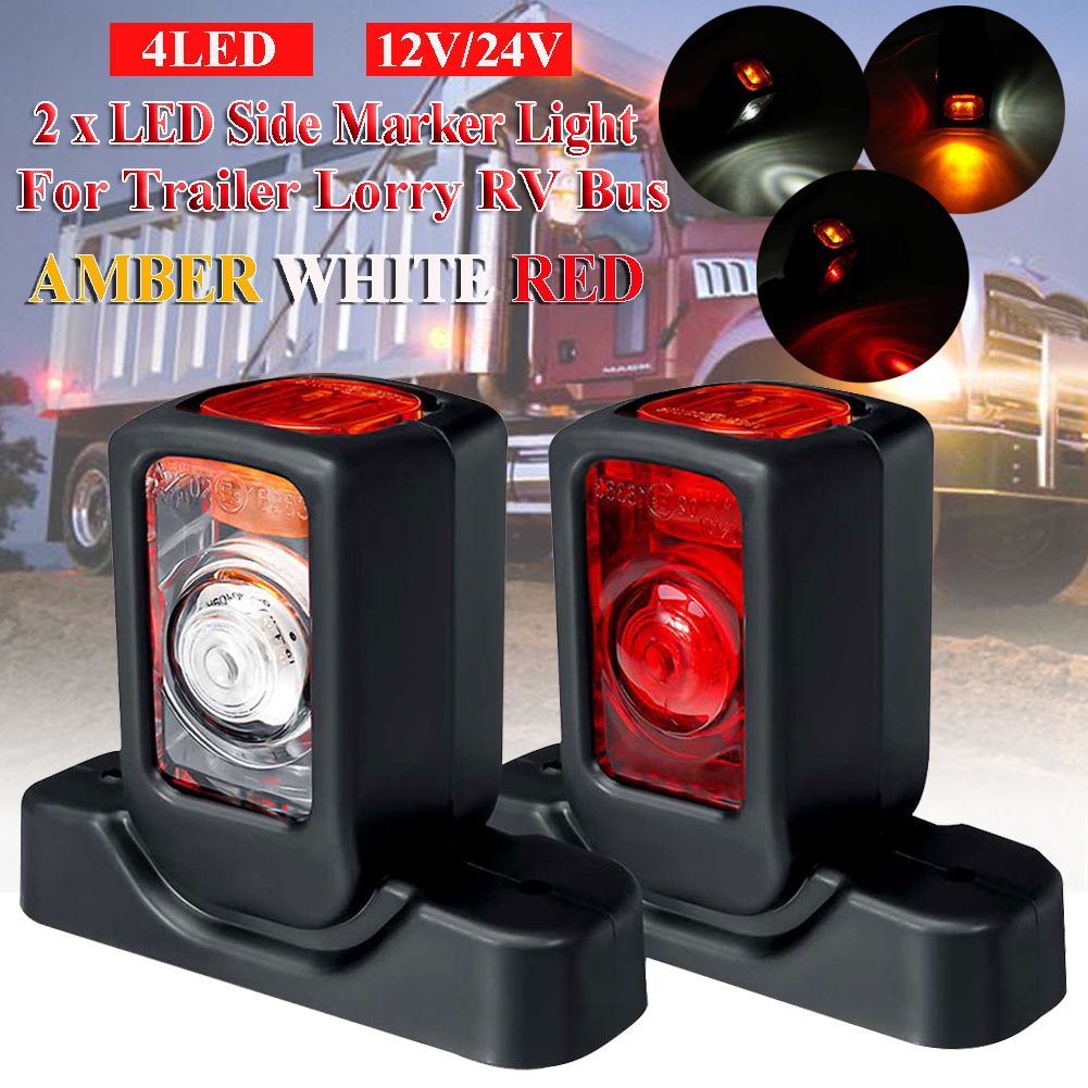 2Pcs 12V / <font><b>24V</b></font> <font><b>LED</b></font> Side Marker Lights Tail Light Amber White Red Indicator <font><b>Lamps</b></font> <font><b>Truck</b></font> Side <font><b>Lamp</b></font> For Trailer <font><b>Truck</b></font> Lorry RV Bus image