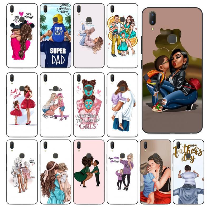 YNDFCNB-funda de teléfono para móvil, color negro, marrón, para mamá, hija, hijo, papá, para vivo Y91C Y11 17 19 53 81 31 91 para Oppo a9 2020