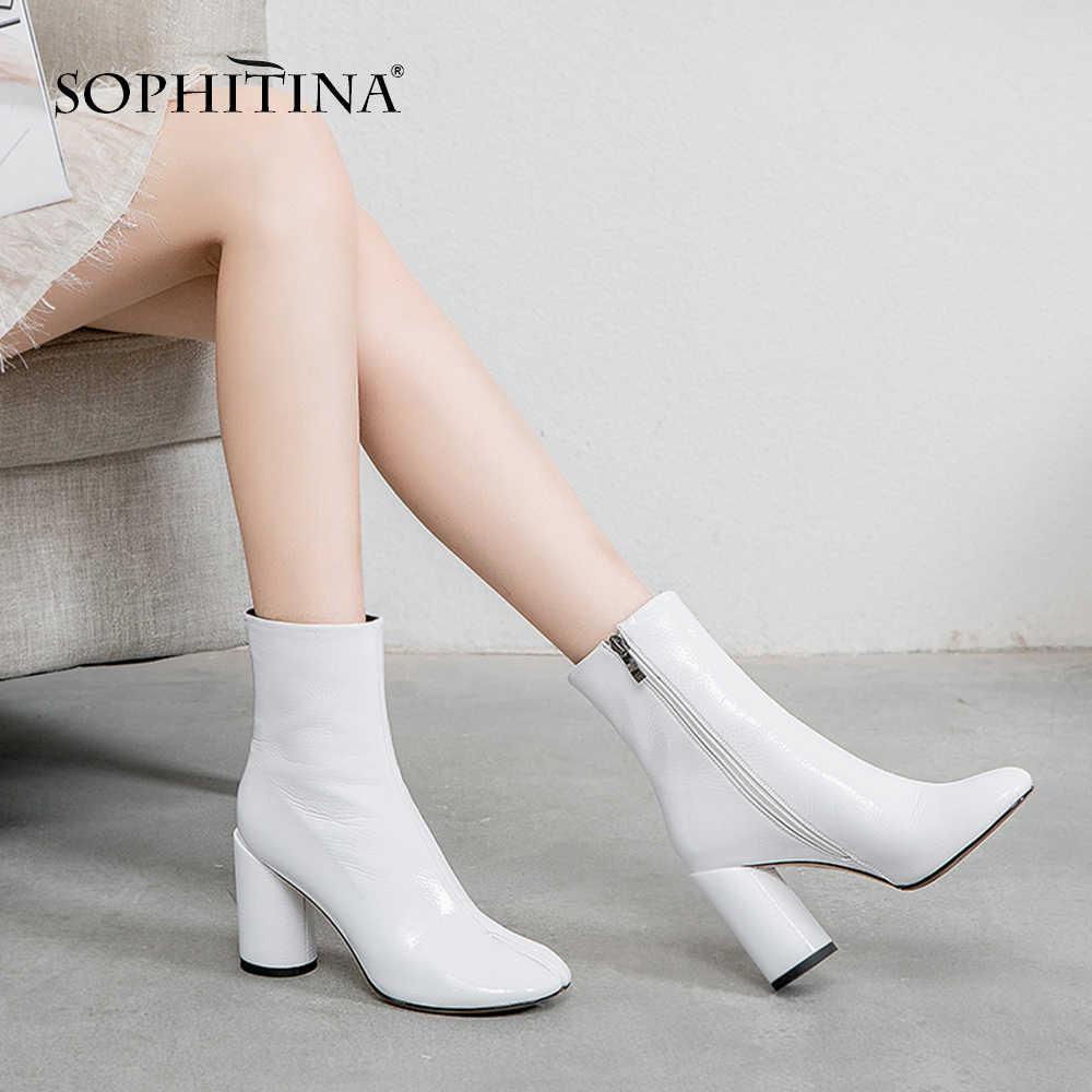 SOPHITINA Rahat Kare Ayak Kadın yarım çizmeler Moda El Yapımı Med Topuk Ayakkabı Temel Katı Kare Topuk Fermuar Bayanlar Çizmeler SO222