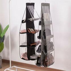 New 6/8 Pockets Shelf Tote Rack Bag Clear Hanging Purse Handbag Organizer Storage Holder Wardrobe Closets