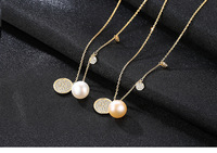 S925 sterling silver necklace pendant simple pearl female clavicle chain VS301