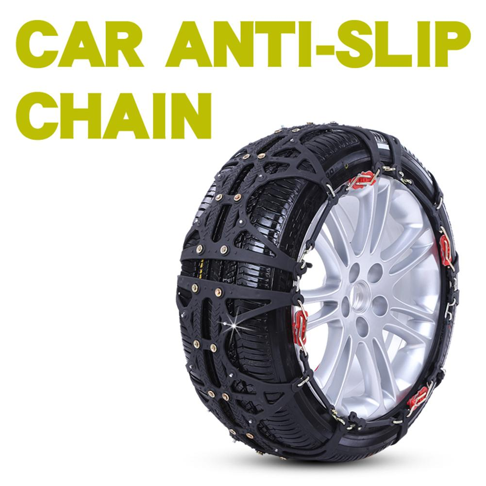 2PCS/Set Car Snow Chains Rubber Jack-free Non-slip Wear-resistant Tire Chain For SUV Ice Snow Sand Muddy Road Driving