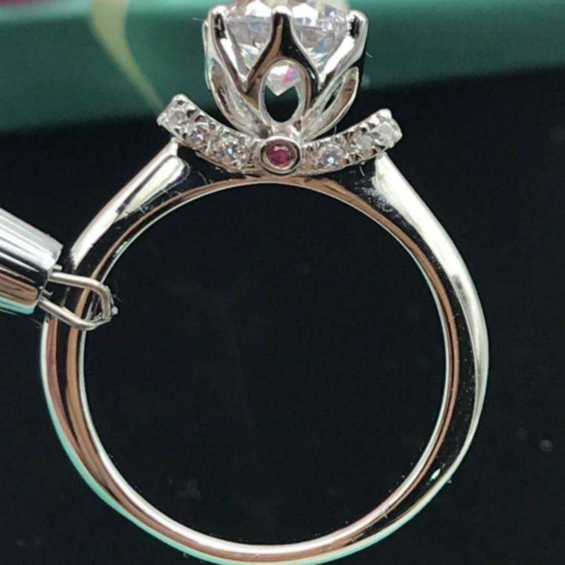 S925 bagues en argent Sterling 2 carats AAAAA haute qualité Zircon cubique couronne broche réglage bagues de mariage pour les femmes bijoux classiques - 3